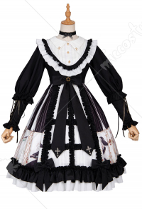 Ying Luo Fu Dark Hymn Vintage Gothic Printed Num Pattern Lace Black OP Lolita Dress Outfit with Neck Accessory and Bow-Decorated Headdress