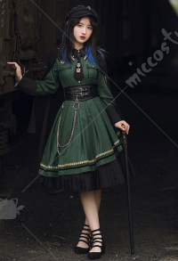 With Puji Emberless Land Elegant Russian Military Style Irregular Dark Green Op Lolita Dress Outfit with Accessory-Decorated Shawl Cloak and Tie