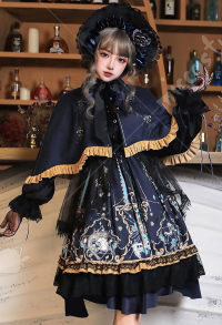 Ying Luo Fu Salvation from God Stype II Vintage Gothic Dark Style Printed OP Lolita Dress Outfit with Neck Accessory and Bnt Hat