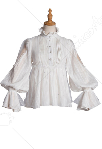 Ying Luo Fu Salvation from God Stype II Vintage Gothic Dark Style Stand-Up Collar Spotted Lolita Shirt Blouse Outfit