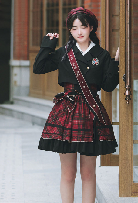 With Puji Bagpipe Set British College Style Short Suit Coat and Red and Black Plaid Suspender Cupcake Skirt sk Outfit for Winter