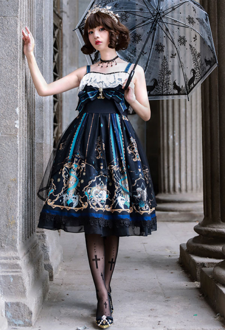 Ying Luo Fu Salvation from God Gothic Dark Style Lace Sleeveless Printed Black Suspender jsk Lolita Dress Outfit with Necklace and Belt