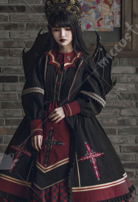 With Puji Holly Light Classic Gothic Irregular Bat Shape Collar Cross Embroidery Red and Black Contrast OP Lolita Dress Outfit with 3D Dimensional Devil Wing Accessory