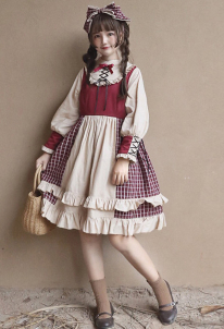 Sweet Maiden Strawberry Red Plaid Princess Hime Lolita Dress