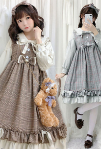 Lolita Dress Japanese Style Lolita Fashion Sweet Cute Plaid Princess Hime Lolita Dress for Autumn and Winter