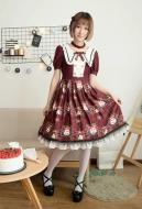 Cute Lolita Dress Summer Girl Short Sleeve Dress Crown Cat Pattern Dress One Piece Dress