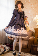 Dark Gothic Long Sleeve Dress Japanese Style Lolita Printed Princess Dress One Piece Dress