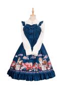 Sweet Lolita Maiden JSK Hat Patterns Printed Ruffle Lolita Dress for Winter