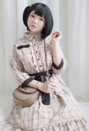[Free US Economy Shipping] Vintage Summer Dress Japanese Style Plaid Long Sleeve Dress