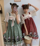 Cute Girl Dress Ancient Style Chinese Panda Pattern Printed Dress