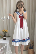 [Free US Economy Shipping] Cute Lolita Daily Dress Japanese Style Student High Waist Navy Dress With Bow