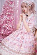 Sweet Lolita Short Sleeve Cookie Print Lolita Dress Sweety Girl Daily Dress for Summer