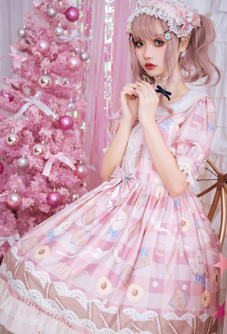 Sweet Lolita Short Sleeve Cookie Print Lolita Dress Sweety Girl Daily Dress for Summer