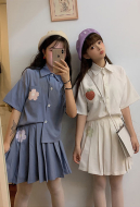 [Free US Economy Shipping] Cute Student Uniform Suit Japanese Style Printed Shirt Cute Pleated Skirt
