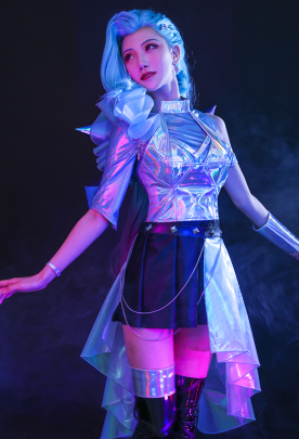 League of Legends LOL Girls New Skin Seraphine K/DA ALL OUT Superstar Idol Gradient Mixed Blue Color Shiny Symphony Laser Reflective Leather Cosplay Costume Full Set with Hair Clip and Arm Accessory
