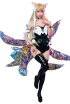 League of Legends KDA Pop Star Girls Ahri Cosplay Costume Bodysuit with Fox Ears