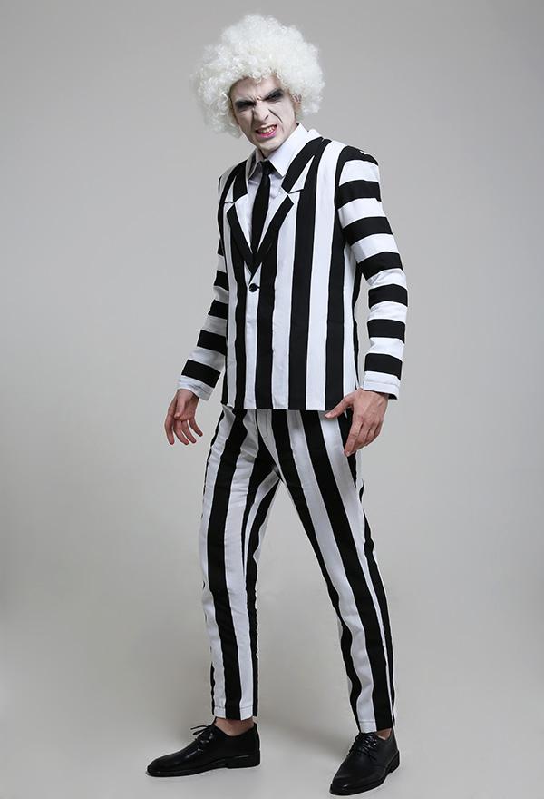 Herren Schwarz und Weiß Streifen Retro Jacke Anzug Kostüm mit Krawatte