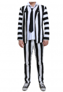 Male Black and White Vertical Stripes Jacket Suit Costume with Tie