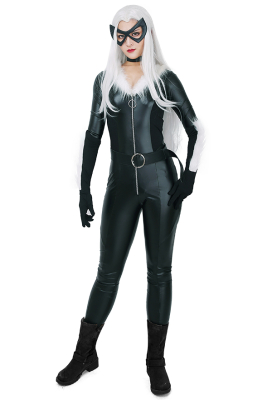 Super Heroine Cosplay Costume Jumpsuit with Mask and Choker Inspired by Meow Black Cat Make to Order
