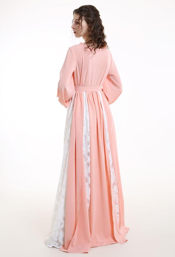 Mittelalterliches Halloween Party Handgemachtes Rosa Chiffon Kleid Renaissance Kostüm mit Rüschenkragen und Gürtel