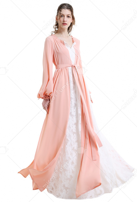 Medieval Handmade Pink Chiffon Dress Renaissance Costume with Ruffle Collar and Belt