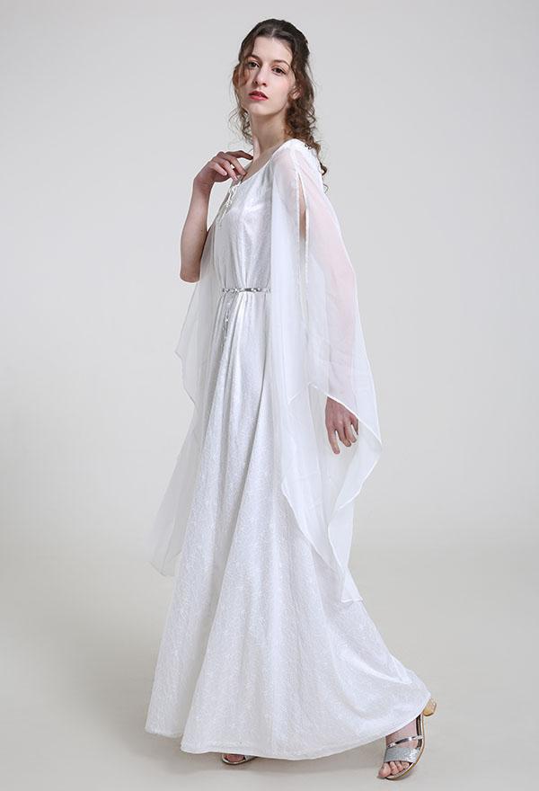 Mittelalterliches Handgemachtes Halloween Party Weißes Spitzen Kleid Renaissance Kostüm mit Gürtel