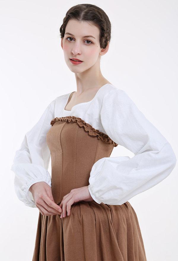 Mittelalterliches Handgemachtes Halloween Party Kleid Renaissance Kostüm mit Französische Bum Roll