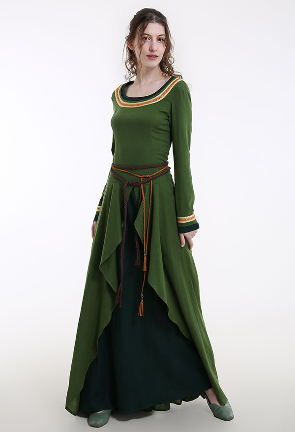 Mittelalterliches Halloween Party Kostüm Handgemachte Schnürkleid Kreuzzüge Stil mit Taillenseilen