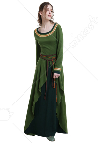Medieval Costume Handmade Historical Lace-up Dress Crusades Style with Waist Ropes for Role Play Party LARP Halloween