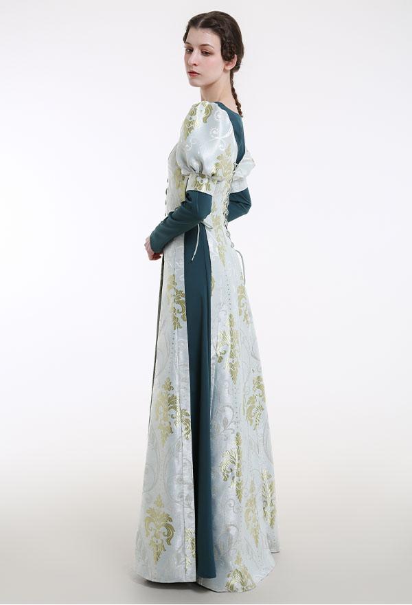 Mittelalterliches Renaissance Halloween Party Kostüm Handgemachtes Retro Außenkleid im Hofstil mit Vintage Drucken