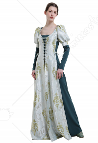Medieval Renaissance Costume Handmade Historical Retro Court Style Outer Coat Dress with Vintage Printings for Role Play Party LARP Halloween