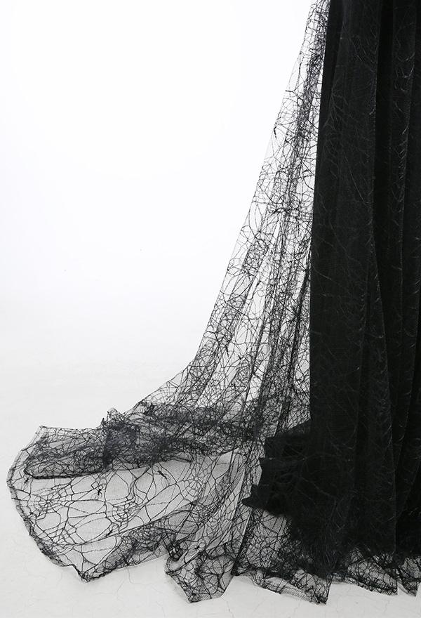 Gothic Mittelalterliches Langes Rundhals Kleid Spinnennetz Spitze Dunkler Stil Durchsichtige Lange Ärmel Niedriger Kragen Kostüme
