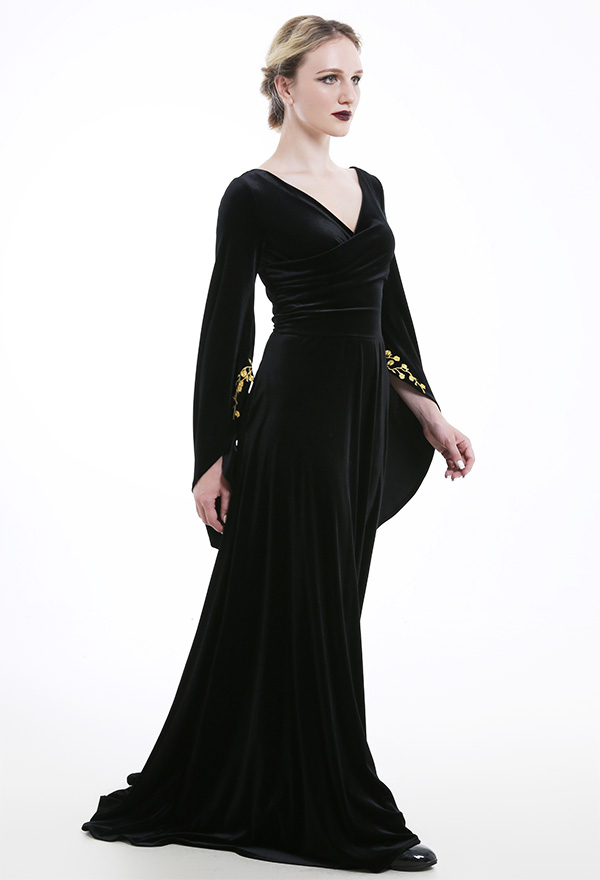 Mittelalterliche Kleidung Rückenfrei V-Ausschnitt Niedriger Kragen Binde Schleppkleid Ausgestellte Ärmel Kostüme