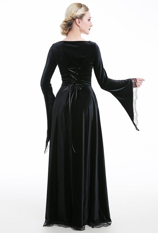 Retro Criss Kreuz Seil Mittelalterliches Langes Quadratischer Kragen Kleid Spitze Gothic Dunkler Stil Binde Hexenkleid Kostüme