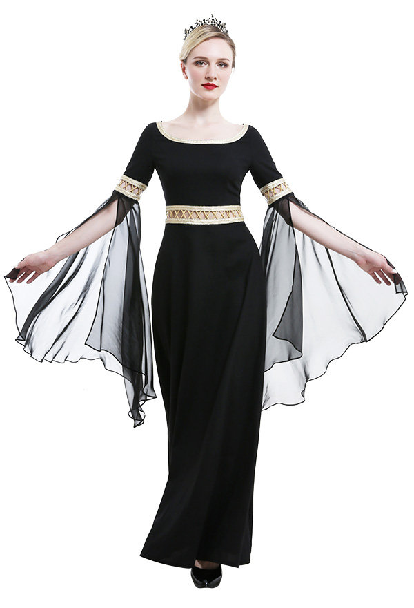 Mittelalterliches Aushöhlen Kleid Halloween Chiffonärmel Criss Kreuz Seil Rundhals Niedriger Kragen Hexenkleid Kostüme