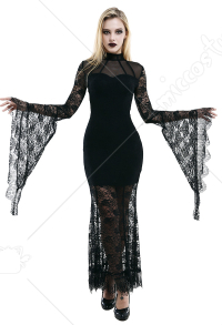 Dark Style Gothic Punk Women High Collar Sheer Chest Floral Lace Long Sleeve Dress Elegant Back Hollow Mermaid Fitting Goth Dress Outfit