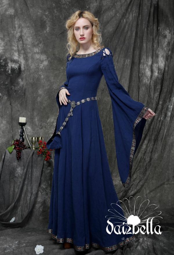 Die Herzogin: Exklusiv Mitternachts Spirit Mittelalterliches Renaissance XIII Jahrhundert Handgemachtes Natürliches Leinen Kleid mit Glockenhülse