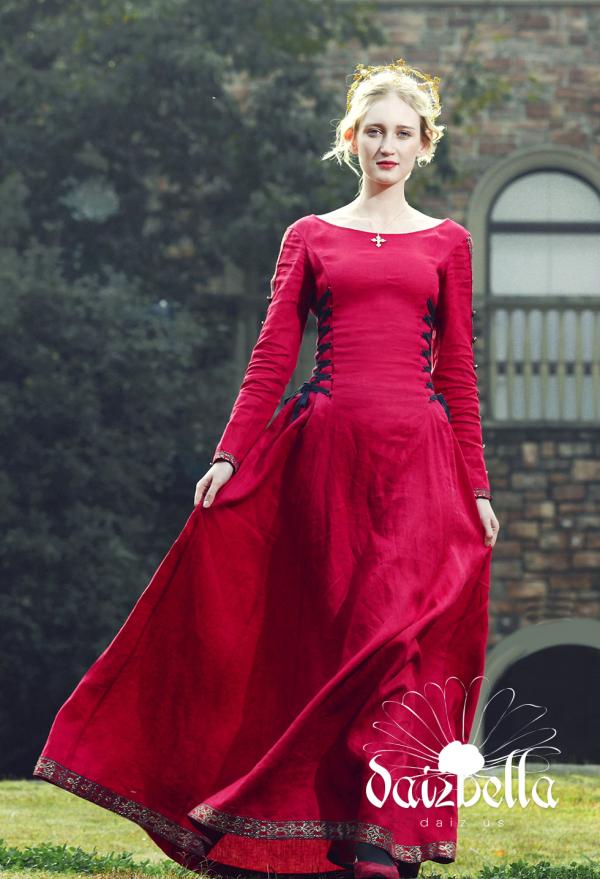 Die Herzogin: Exklusiv Mittelalterliches Renaissance XIII Jahrhundert Handgemachtes Natürliches Leinen Kleid mit Schnürung