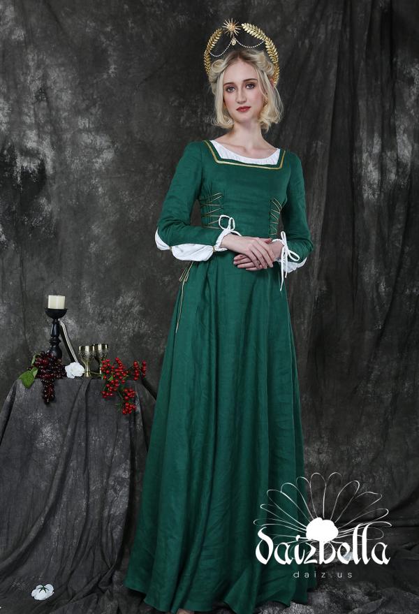 Saint Catherine: Exklusiv Mittelalter Renaissance XV Jahrhundert Handgemacht Natürliches Leinen Kleid