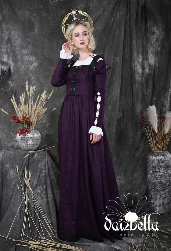 The Holy: Exklusiv  Klassisches Mittelalterliches Renaissance Handgemachtes Natürliches Leinen Kleid mit abnehmbaren Ärmeln