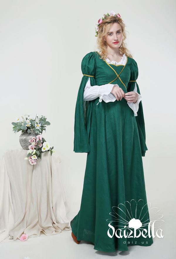 Lynette: Exklusiv Mittelalterliches Renaissance Handgemachtes Natürliches Leinen Kleid mit weit geöffneten Ärmeln