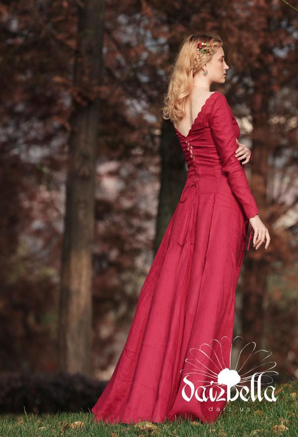 Vitalität: Exklusiv  Mittelalterliches Renaissance Handgemachtes Natürliches Leinen Zartliches Rot Kleid