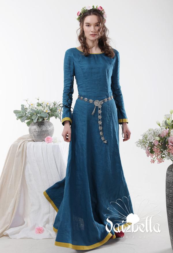 Der Zauberer von Oz: Exklusiv  Mittelalterliches XIII Jahrhundert Handgemachtes Natürliches Leinen Kleid
