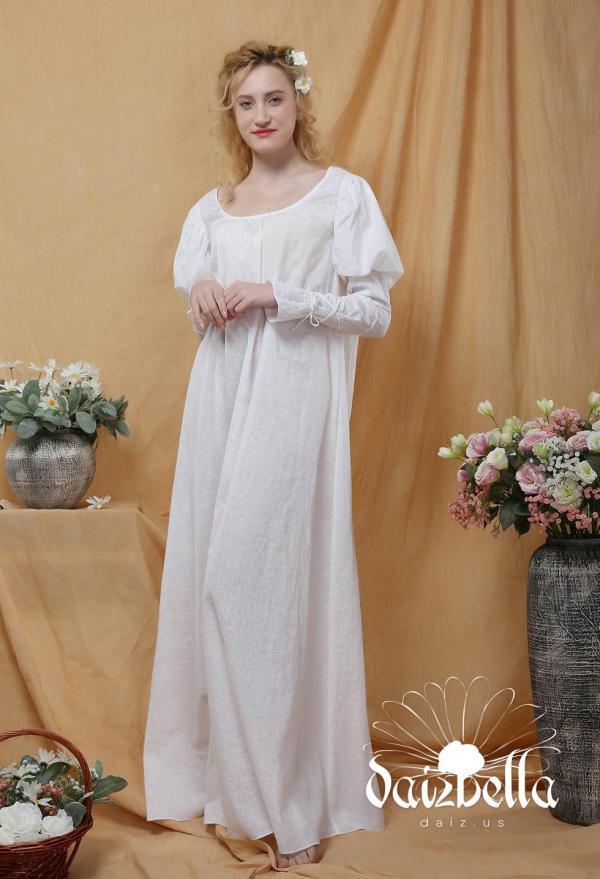 Angelina: Exklusiv Mittelalterliches Renaissance Handgemachtes Unterkleid aus Baumwolle und Leinen