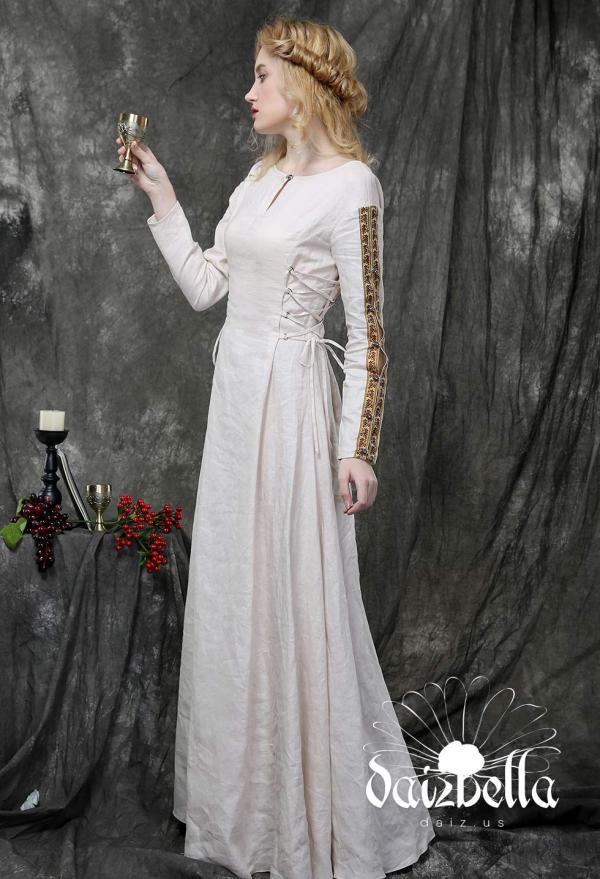 Die Herzogin: Exklusiv Mittelalterliche Renaissance XIV Jahrhundert Handgemachtes Natürliches Leinen Unterkleid mit Kordeln