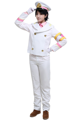 Super Momotarou Dentetsu DX Momotarou Uniform Set Long Sleeved Shirt and Pants Suit Cosplay Costume Outfits with Unifrom Jacket Peach Pattern Armband Uniform Hat Gloves Tie