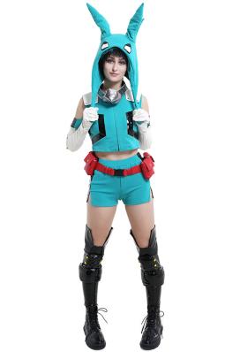 My Hero Academia Midoriya Izuku Deku Female Sportswear Cosplay Costume with Plush Hat Moving Ears Headgear
