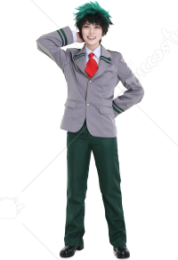 My Hero Academia Male Deku Midoriya Bakugou Todoroki Cosplay Costume School Uniform with 2 Ties