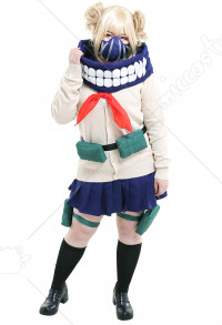 Plus Size My Hero Academia League of Villains Himiko Toga JK School Uniform Sweater Curvy Cosplay Costume with Mask and Waist Bag