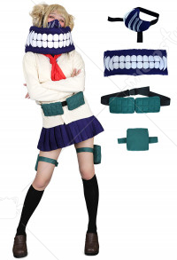 My Hero Academia League of Villains Himiko Toga Cosplay Costume JK School Uniform Sweater with Neckwear and Face Covering
